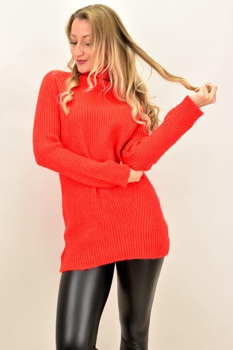 Γυναικείο μπλουζοφόρεμα με σχέδιο - Κόκκινο