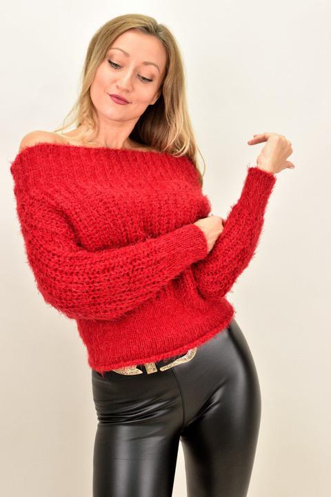Γυναικεία χνουδωτή πλεκτή μπλούζα - Κόκκινο