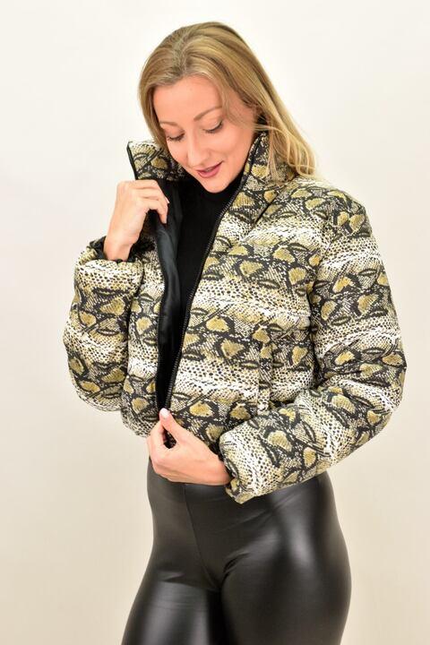 Γυναικείο μπουφάν bomber animal print - Μπεζ