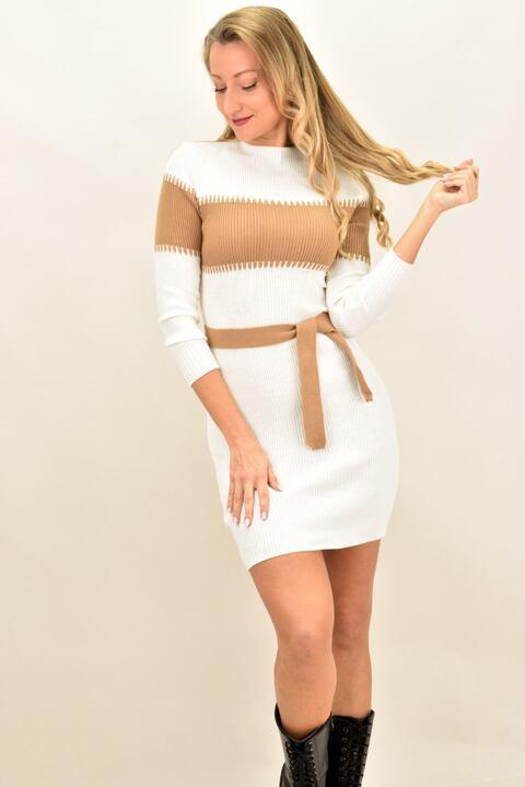 Γυναικείο φόρεμα πλεκτό με ζώνη και ρίγα - Εκρού
