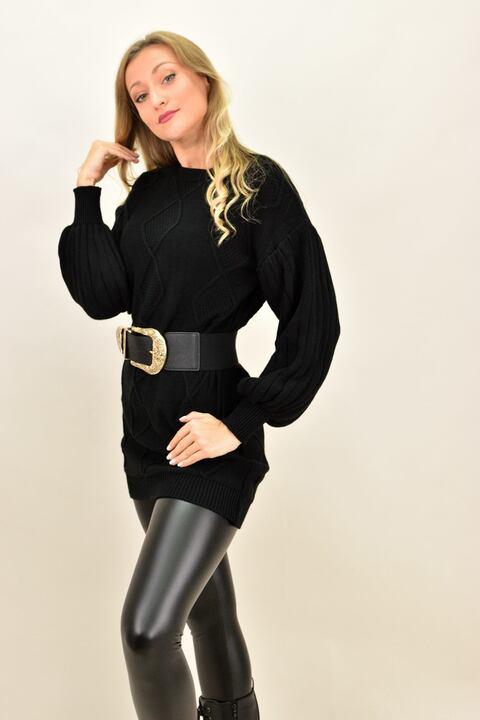 Γυναικείο φόρεμα με σχέδιο πλεξούδα - Μαύρο