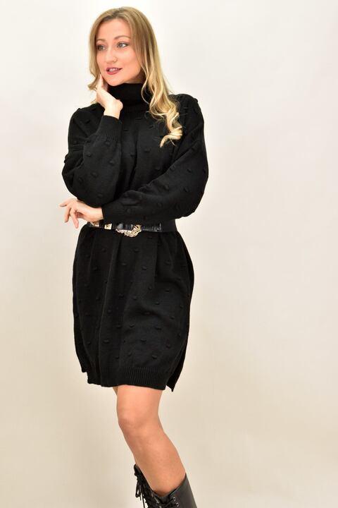 Γυναικείο φόρεμα με πον πον  - Μαύρο