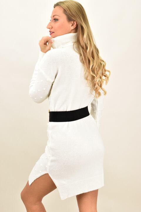 Γυναικείο φόρεμα με πον πον  - Εκρού