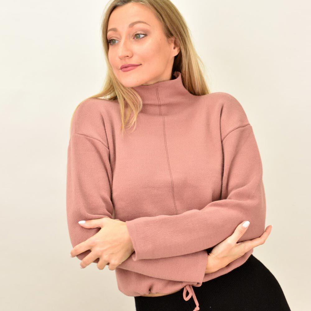 Γυναικεία μπλούζα πλεκτή με τελείωμα κορδόνι