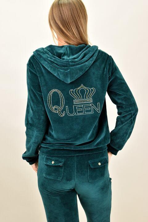 Βελουτέ φόρμα σετ πετρόλ στρας Queen για μεγάλα μεγέθη - Πετρόλ
