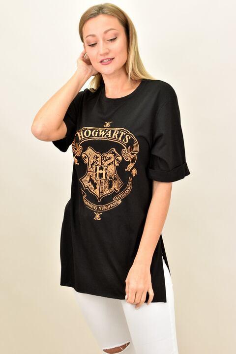 Γυναικείο t-shirt oversized με τύπωμα - Μαύρο