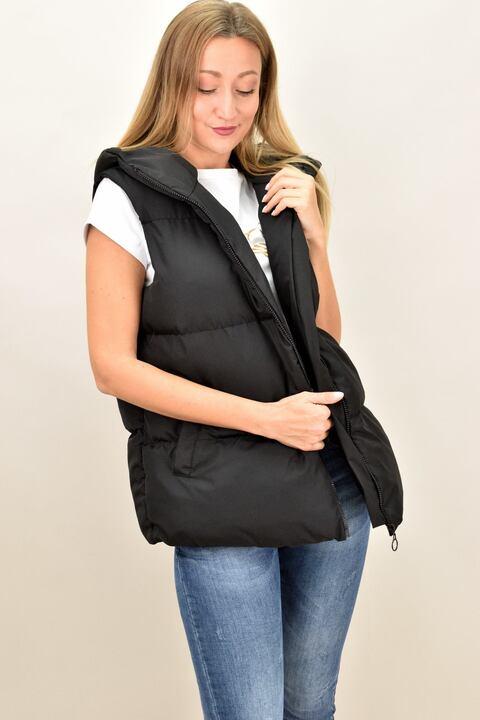 Αμάνικο μπουφάν oversized με κουκούλα - Μαύρο