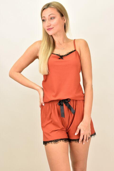 Γυναικεία πιτζάμα σετ με ρίγα και δαντέλα - Πορτοκαλί