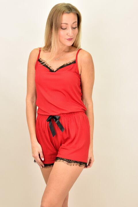 Γυναικεία πιτζάμα σετ με ρίγα και δαντέλα - Κόκκινο