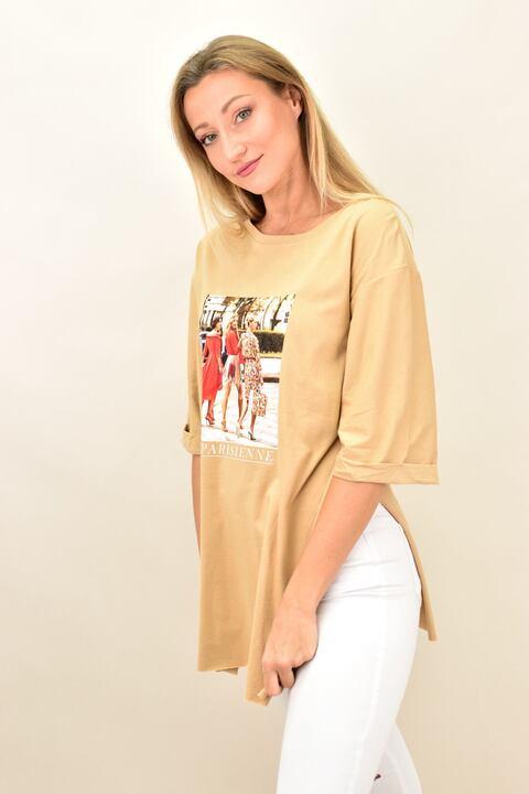 Γυναικεία μπλούζα με τύπωμα PARISIENNE oversized - Μπεζ