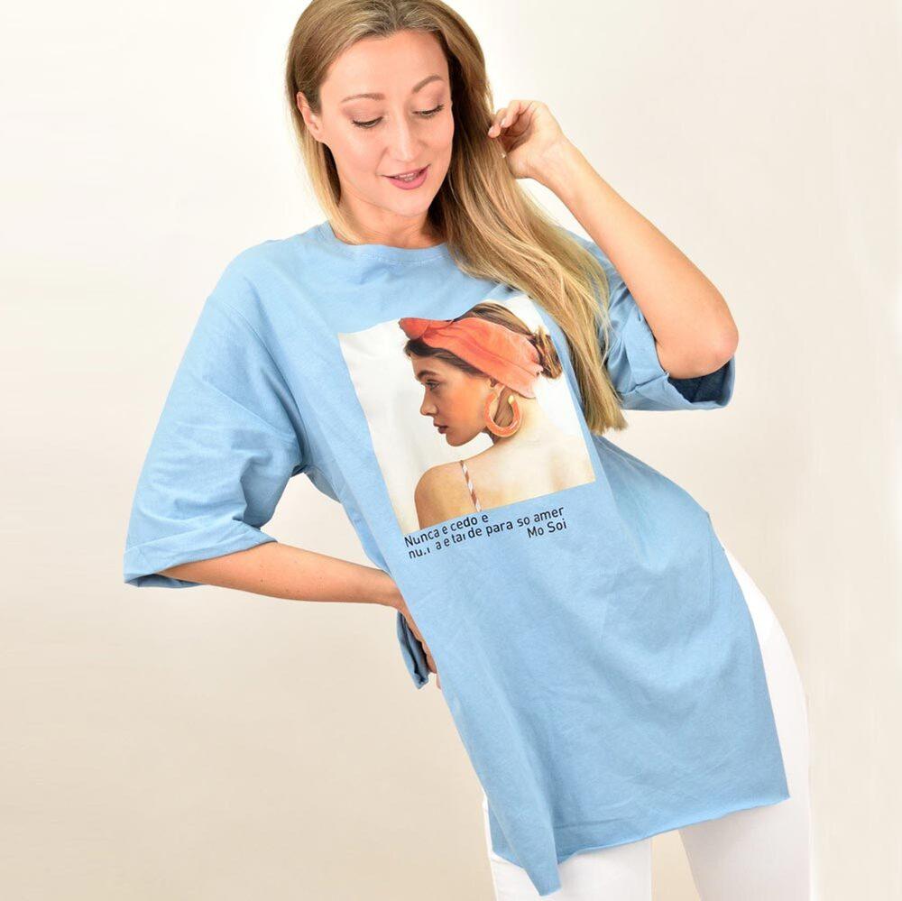 Γυναικεία μπλούζα με όμορφο τύπωμα oversized