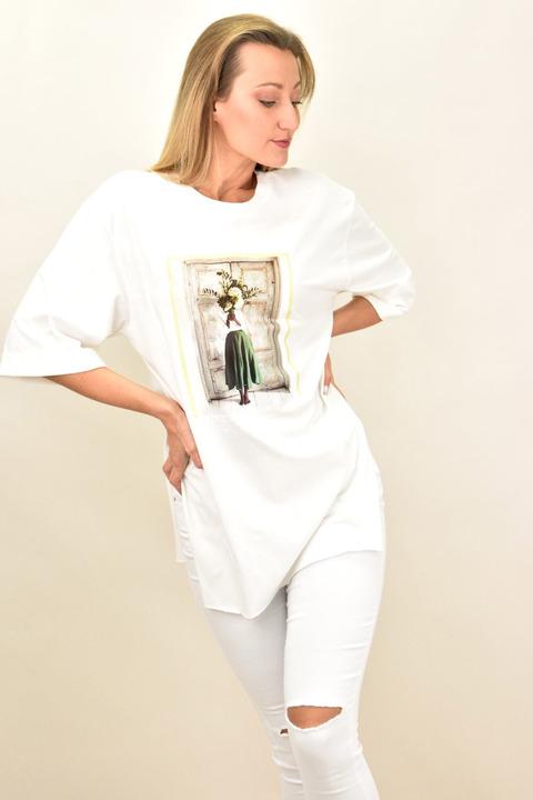 Γυναικεία T- shirt μπλούζα με τύπωμα γυναίκα με λουλούδια - Λευκό