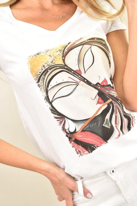 Γυναικείο T-shirt με τύπωμα  - Λευκό