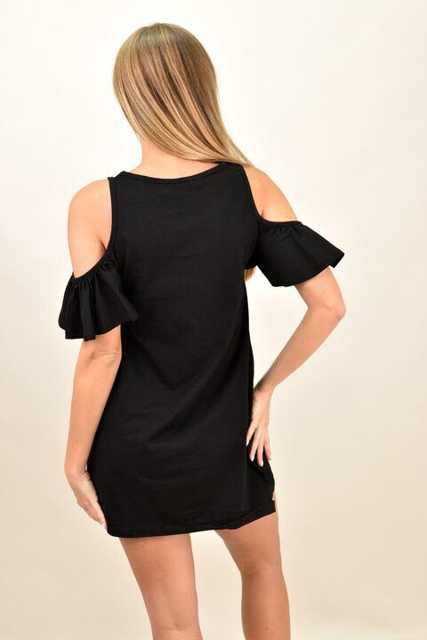 Γυναικείο κοντό φόρεμα με έξω τους ώμους - Μαύρο