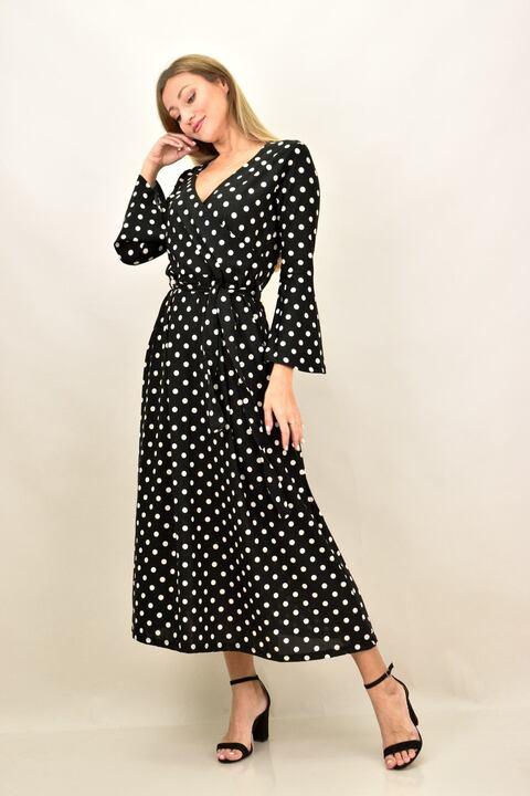 Γυναικείο φόρεμα με μεγάλα μεγέθη πουά - Μαύρο