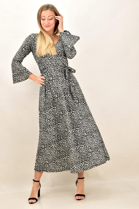 Γυναικείο φόρεμα animal print με μεγάλα μεγέθη - Γκρι