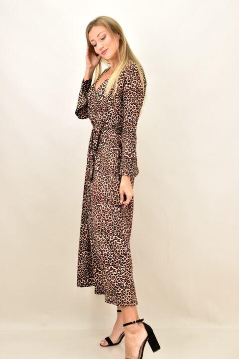 Γυναικείο φόρεμα animal print με μεγάλα μεγέθη - Μπεζ