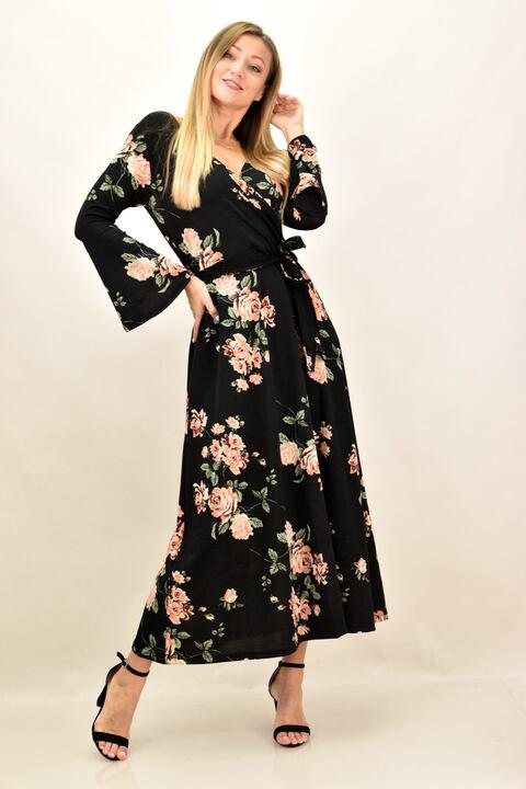 Γυναικέιο φόρεμα φλοράλ με μεγάλα μεγέθη - Σομόν