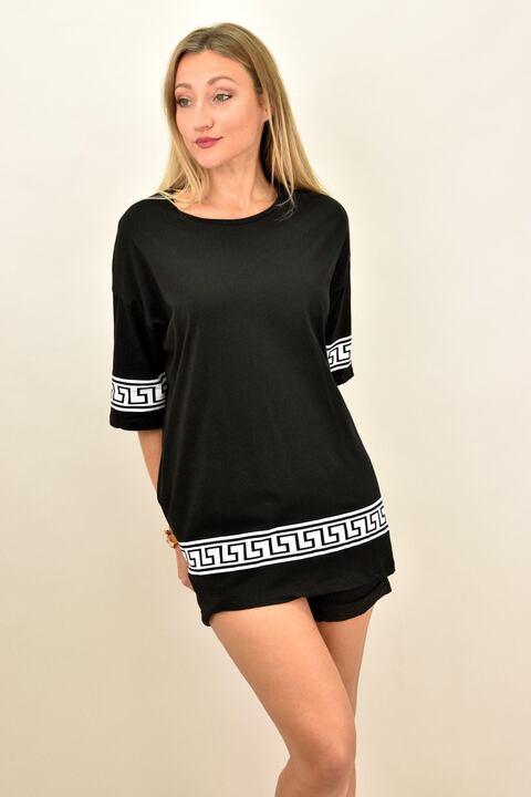 Γυναικεία φορεμα μπλουζοφόρεμα με σχέδιο μαίανδρος - Μαύρο