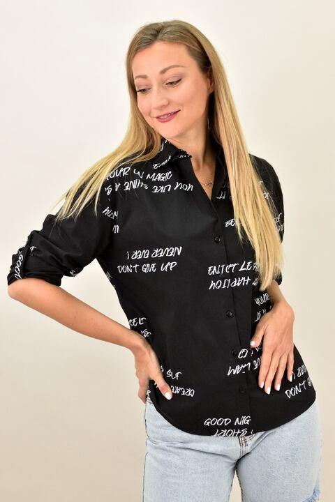Γυναικείο πουκάμισο με στάμπα  - Μαύρο