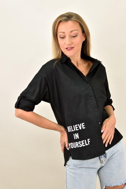 """Γυναικείο πουκάμισο με στάμπα """"Believe in yourself"""" - Μαύρο"""