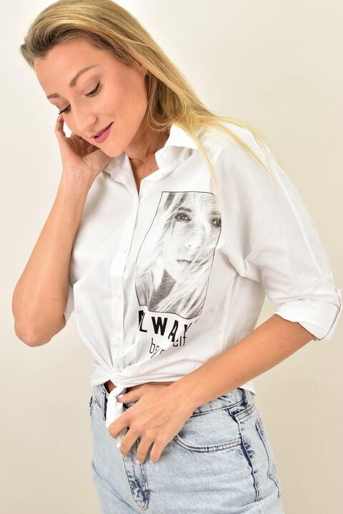 """Γυναικείο πουκάμισο με στάμπα """"Always be yourself"""" - Λευκό"""