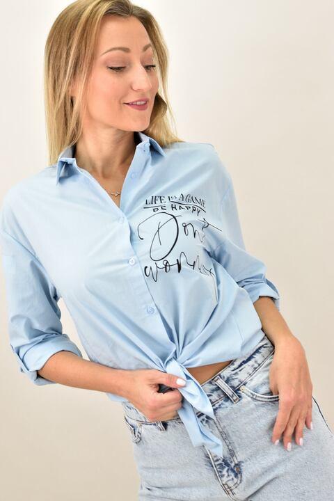 """Γυναικείο πουκάμισο με στάμπα """"Be Happy"""" - Γαλάζιο"""