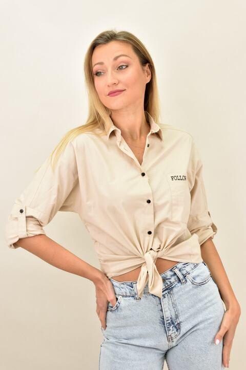 """Γυναικείο πουκάμισο με στάμπα """"Follow your style"""" - Μπεζ"""