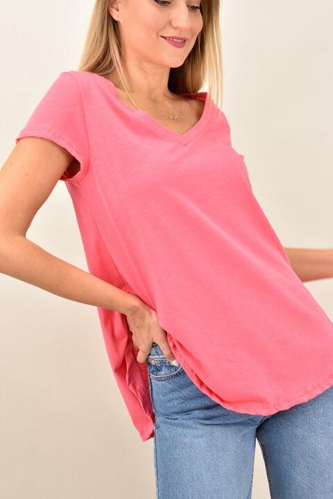 Γυναικεία μπλούζα κοντομάνικη με V λαιμόκοψη - Ροζ