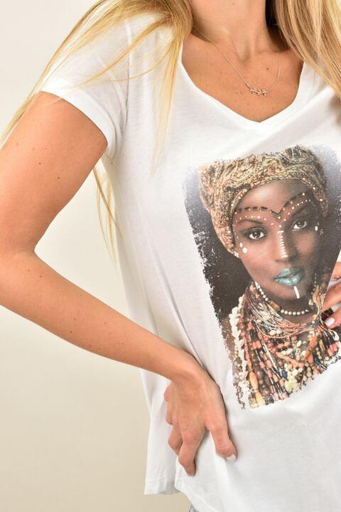 Γυναικεία μπλούζα T-shirt με στρας - Λευκό