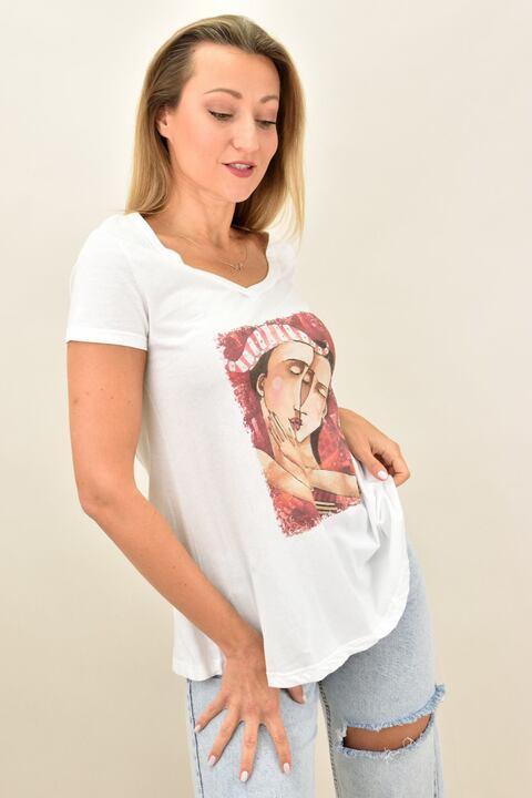 Γυναικεία μπλούζα T-shirt με στρας και σχέδιο με ζευγάρι - Λευκό