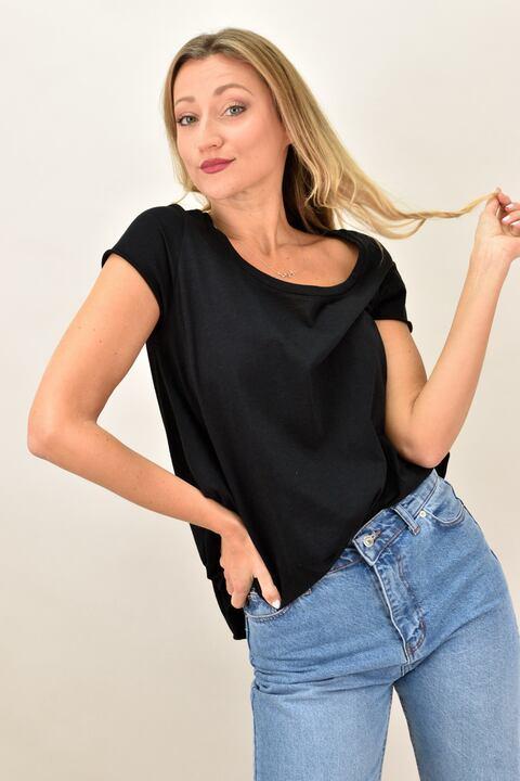 Γυναικεία μπλούζα με στρογγυλή λαιμόκοψη - Μαύρο