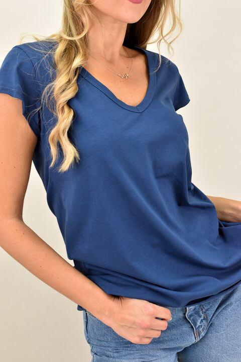 Γυναικεία μπλούζα με V ανοιχτή λαιμόκομψη - Μπλε