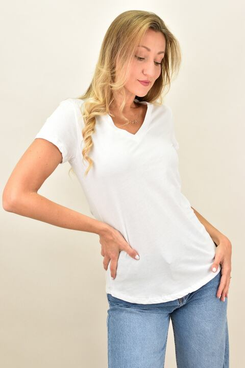 Γυναικεία μπλούζα με V ανοιχτή λαιμόκομψη - Λευκό
