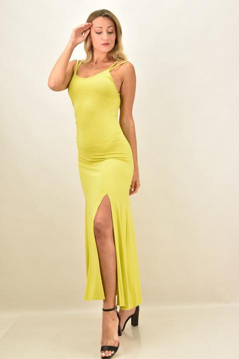 Μακρύ φόρεμα με ανοίγματα - Κίτρινο