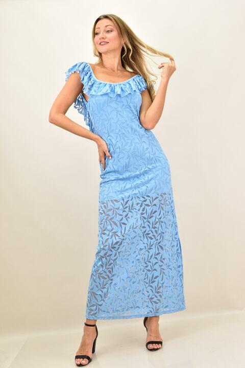 Γυναικείο φόρεμα με δαντέλα - Γαλάζιο