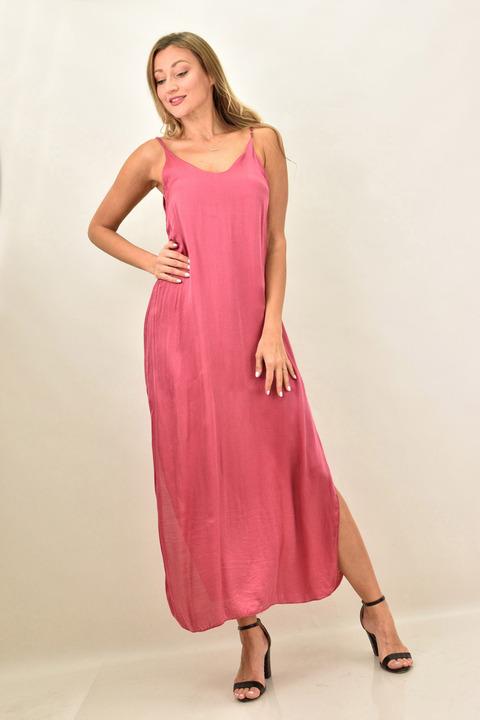 Γυναικείο σατέν φόρεμα - Ροζ
