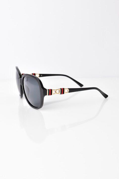 Γυναικεία γυαλιά ηλίου με σχέδιο στον βραχίωνα - Μαύρο