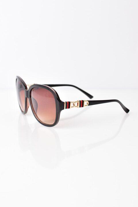 Γυναικεία γυαλιά ηλίου με σχέδιο στον βραχίωνα - Καφέ