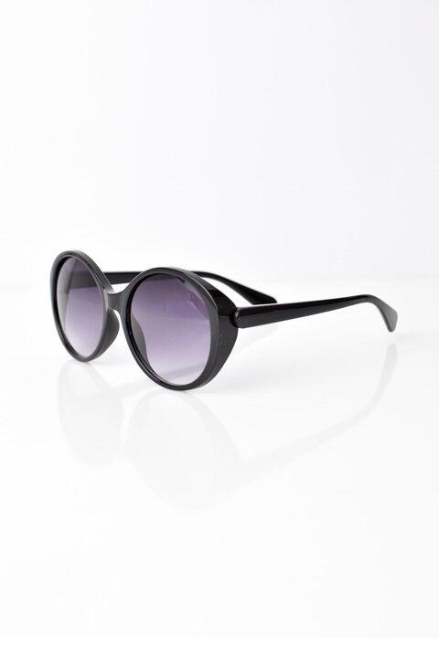 Γυναικεία γυαλιά ηλίου μονόχρωμα με στρογγυλό σκελετό - Μαύρο