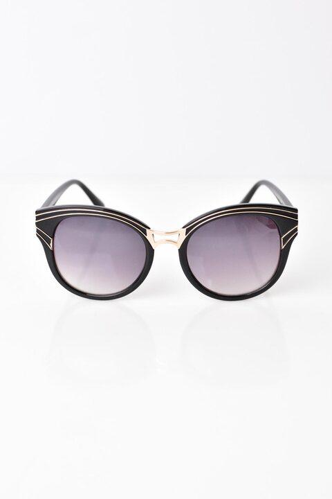 Γυναικεία γυαλιά ηλίου με χρυσό σχέδιο - Μαύρο