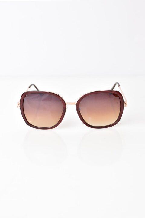 Γυναικεία γυαλιά ηλίου με χρυσό σκελετό για αντίθεση - Καφέ