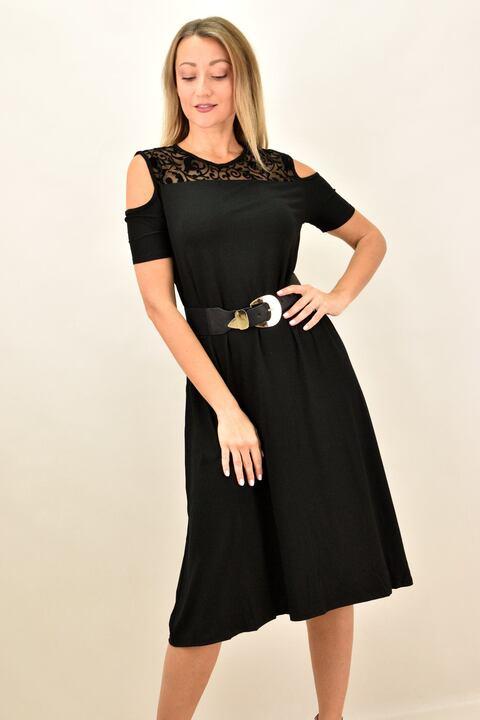 Γυναικείο midi φόρεμα με διαφάνεια μεγάλα μεγέθη - Μαύρο