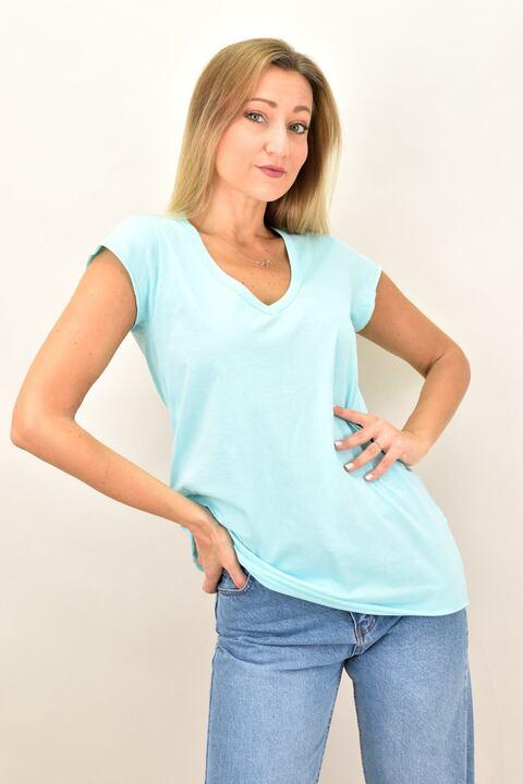 Γυναικεία μπλούζα με V λαιμόκομψη - Γαλάζιο