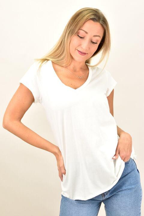 Γυναικεία μπλούζα με V λαιμόκομψη - Λευκό