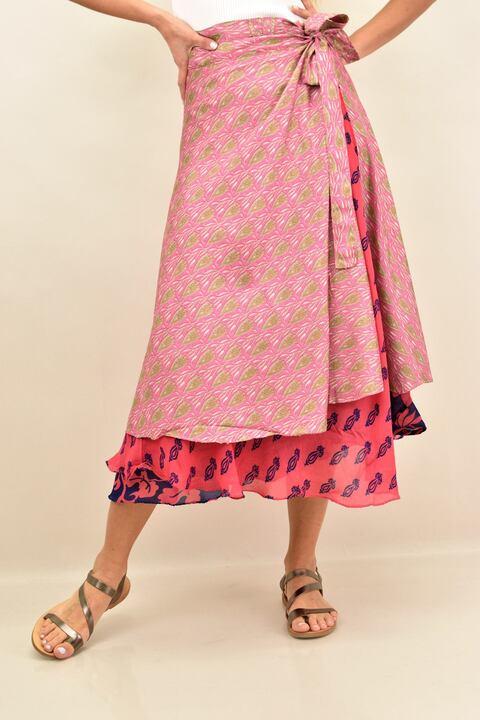 φούστα μεταξωτή διπλής  όψεως boho - Ροζ