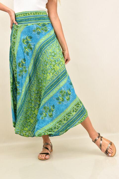Γυναικεία φούστα μεταξωτή boho - Πράσινο