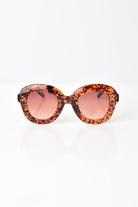 Γυναικεία γυαλιά ηλίου με διαφανή σκελετό - Καφέ