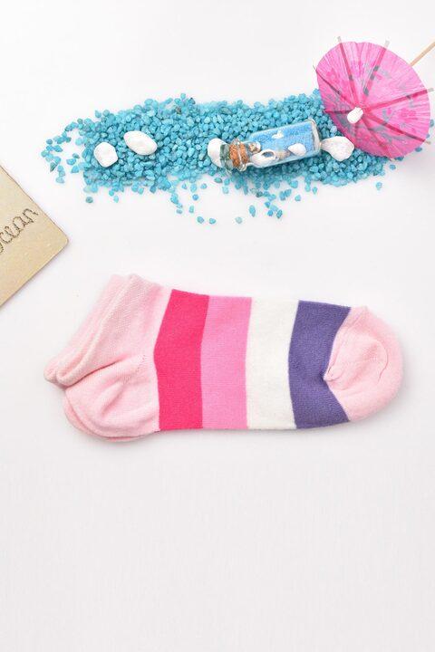 Γυναικείες κάλτσες με σχέδιο μεγάλη  ρίγα - Ρόζ