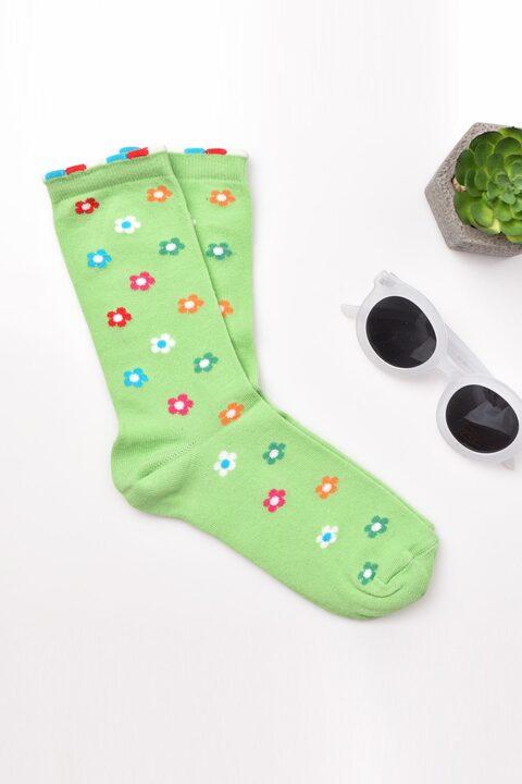 Γυναικείες κάλτσες με σχέδιο λουλουδάκια - Πράσινο